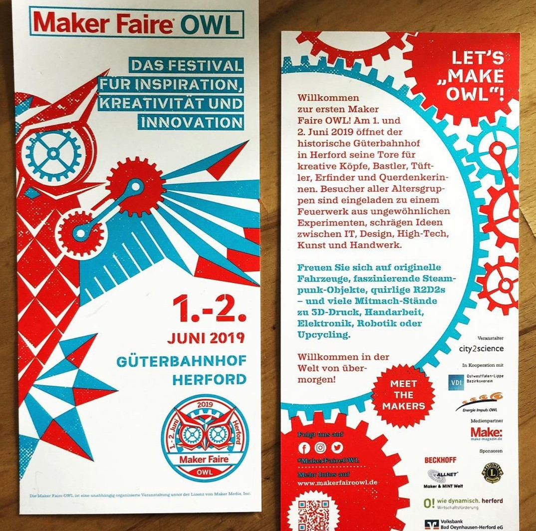 Flyer der MakerFaire OWL in Herford